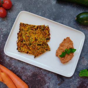 Read more about the article Zucchini-Karotten Puffer mit Tomaten Dip